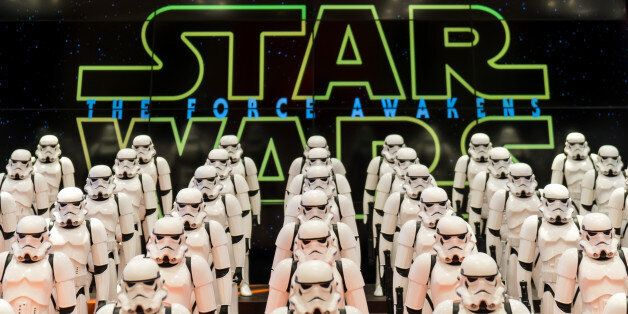 SHANGHAI, CHINA - JANUARY 19: (CHINA OUT) 100 models of Imperial storntroopers from Star Wars are displayed...