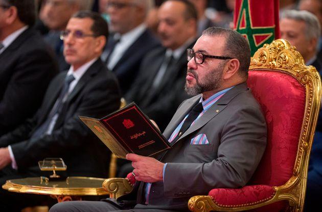 Le roi Mohammed VI et le chef du gouvernement Saad Eddine El Othmani au palais royal de Casablanca, en...
