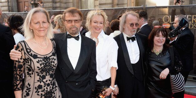 LONDON, ENGLAND - APRIL 13: (L to R) Phyllida Lloyd, Bjorn Ulvaeus, Judy Craymer, Benny Andersson and...