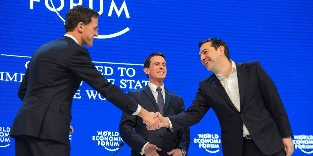 (L-R) Ductch Prime Minister Mark Rutte, French Prime Minister Manuel Valls and Greek Prime Minister Alexis...