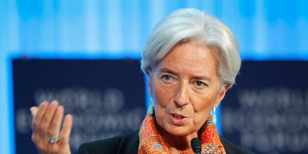International Monetary Fund, IMF, managing director Christine Lagarde gestures as she speaks during a...
