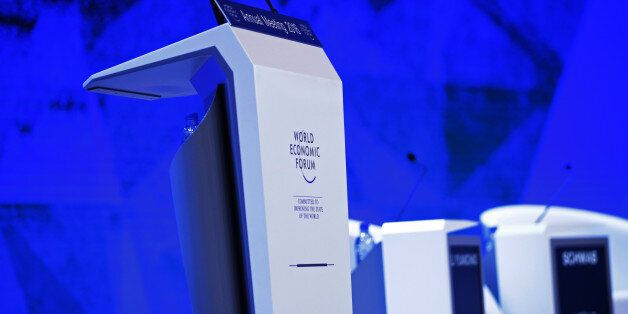 A lectern stands on stage ahead of a special session at the World Economic Forum (WEF) in Davos, Switzerland,...