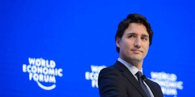 Canadian Prime Minister Justin Trudeau looks on during a session of the World Economic Forum (WEF) annual...