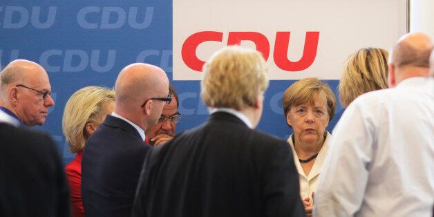 German Chancellor Angela Merkel, third right, attends a leaders meeting of her Christian Democratic Union...
