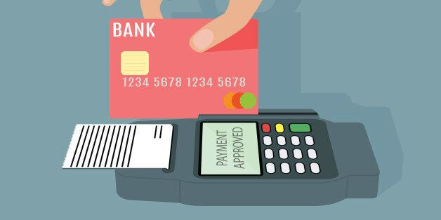 POS terminal transaction concept. Hand swiping a credit card trough terminal. Vector illustration on...