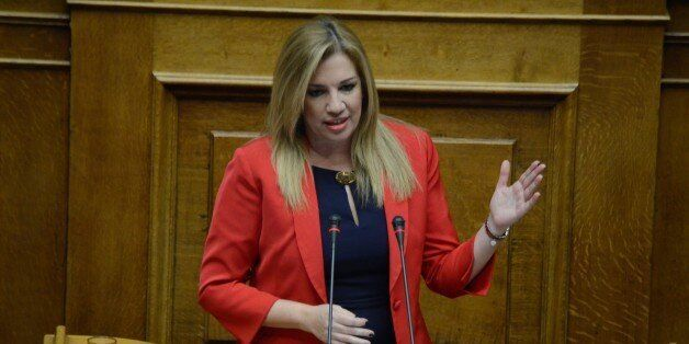 ATHENS, GREECE - 2015/12/15: Leader of Democratic Coalition Fofi Genimata talks to the Greek parliament....
