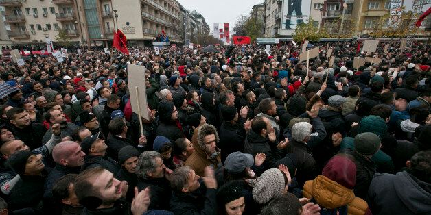 Some tens of thousands of Kosovo opposition supporters protest against the deals with Serbia and Montenegro...