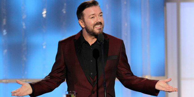 69th ANNUAL GOLDEN GLOBE AWARDS -- Pictured: Host Ricky Gervais on stage during the 69th Annual Golden...