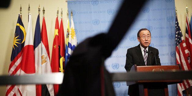 NEW YORK, NY - JANUARY 06: United Nations Secretary-General Ban Ki-moon makes comments to the media on...