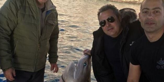 H φωτογραφία του Καμμένου με έναν καρχαρία και το μήνυμα με υπονοούμενο στο