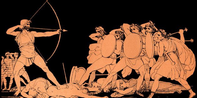 Homer, The Odyssey. Ulysses (Odysseus) killing the Suitors of his wife Penelope on the island of Ithaca...