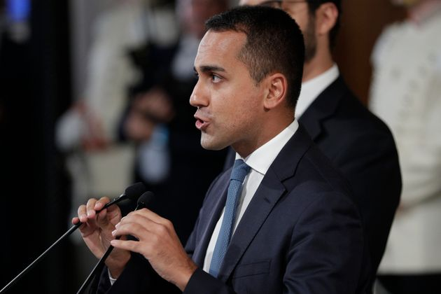Leader of Five-Star Movement, Luigi Di Maio, talks to journalists after meeting with Italian President...