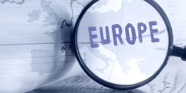 Metaphoric insights into European Union disintegration. Europe map through magnifying