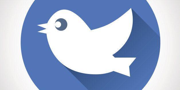 Round Blue Social Media Web or Internet Icon Bird Silhouette Symbol on Stylish Background Modern Flat Design Vector Illustration