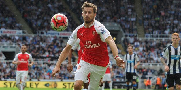 NEWCASTLE UPON TYNE, ENGLAND - AUGUST 29: Aaron Ramsey of Arsenal during the Barclays Premier League match between Newcastle United and Arsenal and St James' Park on August 29, 2015 in Newcastle upon Tyne, United Kingdom. (Photo by Stuart MacFarlane/Arsenal FC via Getty Images)