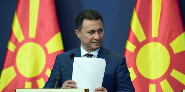 Macedonian Prime Minister Nikola Gruevski gives a joint press conference with his Hungarian counterpart...