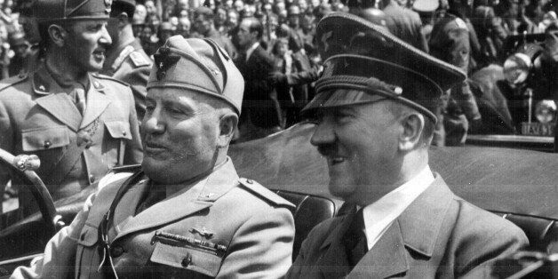 Adolf Hitler and Benito Mussolini in Munich, Germany, ca. June