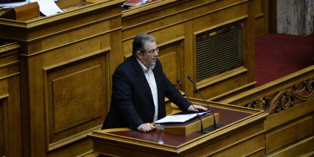 HELLENIC PARLIAMENT, ATHENS, ATTICA, GREECE - 2015/03/30: The Greek Prime Minister Alexis Tsipras presented...