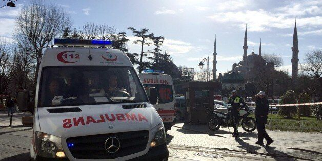 ISTANBUL, TURKEY - JANUARY 12: Ambulances gather around Sultanahmet tourist district after an explosion...