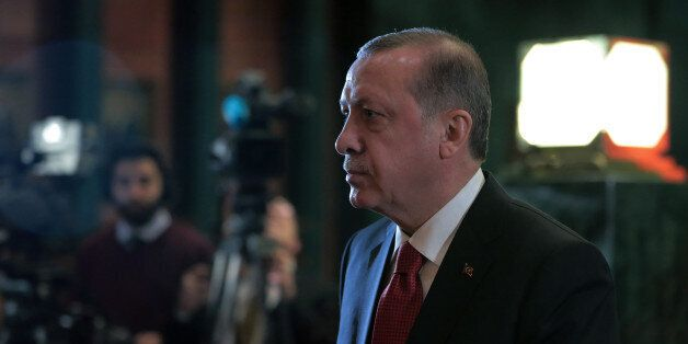 Turkey's President Recep Tayyip Erdogan arrives for welcoming ceremony for his Afghan counterpart Ashraf...