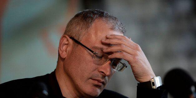 DONETSK, UKRAINE - APRIL 27: Mikhail Khodorkovsky, a Russian businessman and former oligarch, holds a...
