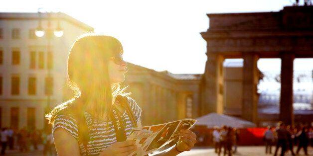 Girl with map at Brandenburger