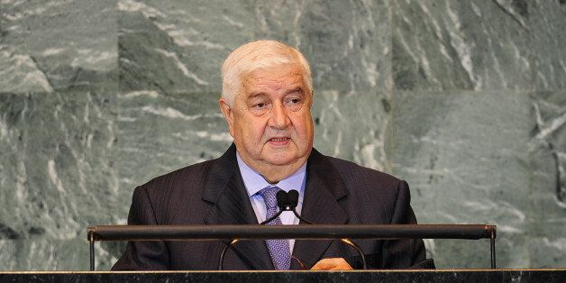 Syria's Foreign Minister Walid Al-Moualem addresses the 66th UN General Assembly at the United Nations...