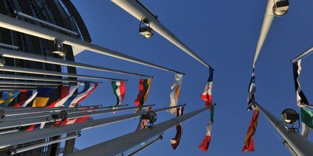 European flags fly in front of the European Parliament in Strasbourg on January 16, 2012, on the eve...