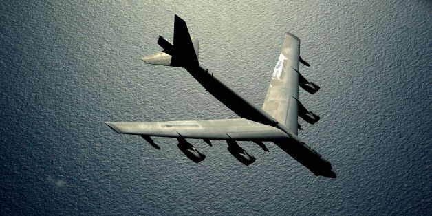 A B-52 Stratofortress aircraft from the 20th Bomb Squadron out of Barksdale Air Force Base, La., flies...