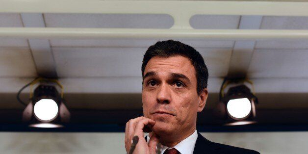 Leader of Spanish Socialist Party (PSOE) Pedro Sanchez gestures during a press conference at the PSOE...