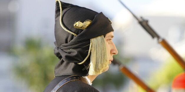 SYNTAGMA SQUARE, ATHENS, ATTICA, GREECE - 2015/05/19: Close-up of an Evzone (Greek Presidential Guard),...