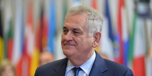 BRUSSELS, BELGIUM - DECEMBER 16 : Serbian President Tomislav Nikolic attends a meeting with European...