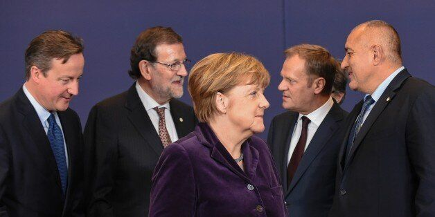 (From L) British Prime minister David Cameron, Spanish Prime Minister Mariano Rajoy, German Chancellor...