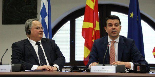 SKOPJE, MACEDONIA - JUNE 24: Macedonian FM Nikola Poposki (R) and his Greek counterpart Nikos Kotzias...