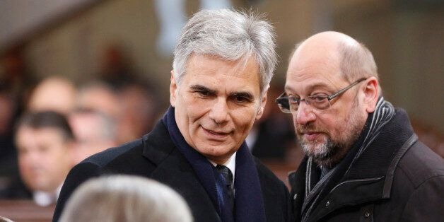HAMBURG, GERMANY - NOVEMBER 23: Werner Faymann and Martin Schulz attends the funeral service of former...