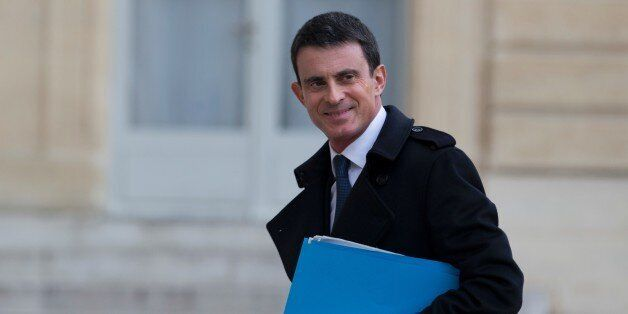 French Prime Minister Manuel Valls arrives for a ministerial meeting on the fight against terrorism financing,...