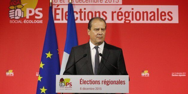 Socialist party (PS) first secretary Jean-Christophe Cambadelis delivers a speech after the announcement...