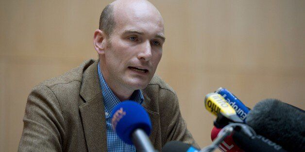 French journalist and former hostage in Syria Nicolas Henin gives a press conference at Le Point newspaper...