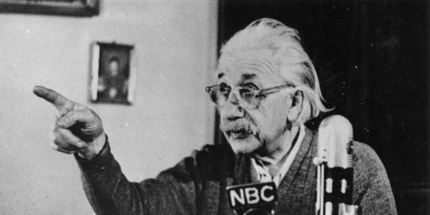 circa 1955: Mathematical physicist Albert Einstein (1879 - 1955) delivers one of his recorded lectures....