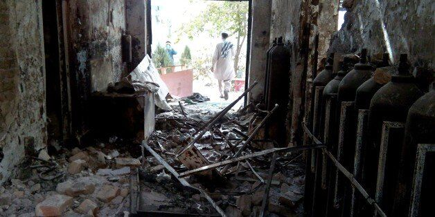 The damaged interior of the hospital in which the Medecins Sans Frontieres (MSF) medical charity operated...