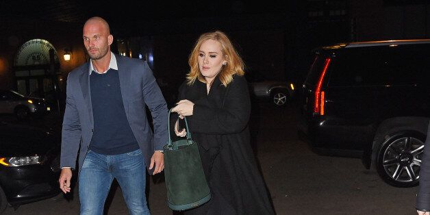 NEW YORK - NOVEMBER 26: Adele pick up a male friend at Morimoto restaurant and head to Nobu together...