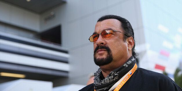 SOCHI, RUSSIA - OCTOBER 11: Actor Steven Seagal attends qualifying ahead of the Russian Formula One Grand...