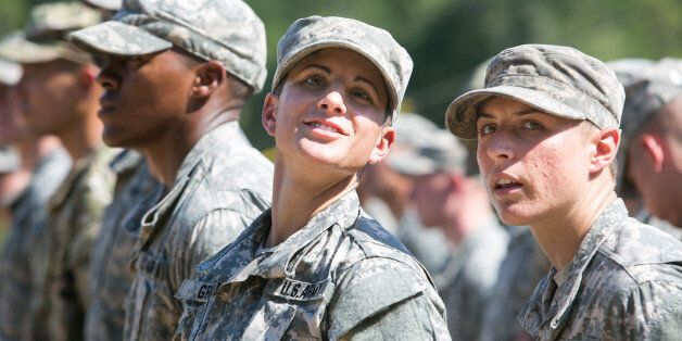 FORT BENNING, GA - AUGUST 21: Capt. Kristen Griest (left) and 1st Lt. Shaye Haver look on during the...