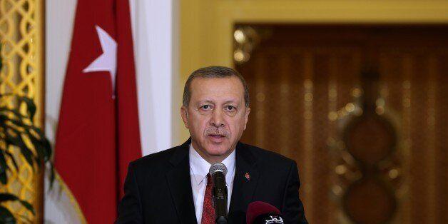 DOHA, QATAR - DECEMBER 02: Turkish President Recep Tayyip Erdogan speaks during a joint press conference...