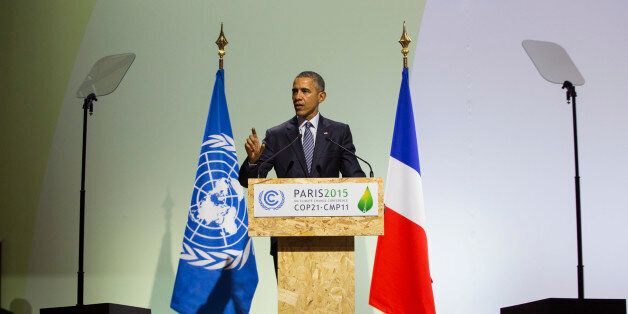 President Barack Obama delivers remarks during the COP21, United Nations Climate Change Conference, in...