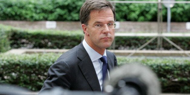 Dutch Prime Minister Mark Rutte arrives for an emergency summit of eurozone heads of state or government...