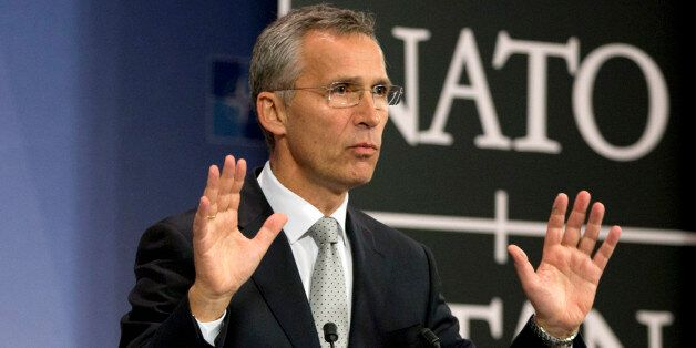 NATO Secretary General Jens Stoltenberg speaks during a media conference at NATO headquarters in Brussels...