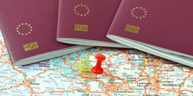 Schengen on the map marked with a red a pin and EU
