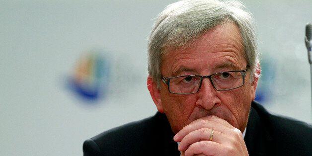 Eurogroup President Jean Claude Junker attends a press conference after an Informal European economic...