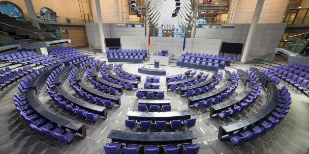 This is the room where the German Bundestag, or Parliament meets. Reichstag building. Berlin,